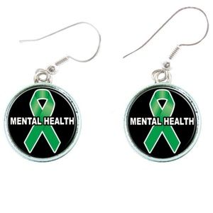 Mental Health Awareness Green Ribbon Earrings